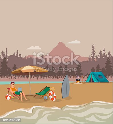 istock Summer concept. Mountain view tent and fire illustration. Sea, sand concept. Vector of young man resting and vacationing on the beach. 1329517678