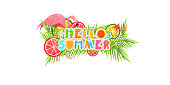 Summer tropical and floral vector design for banner or flyer with exotic leaves and fruits with handlettering fun text of summer sale. Transparent background.