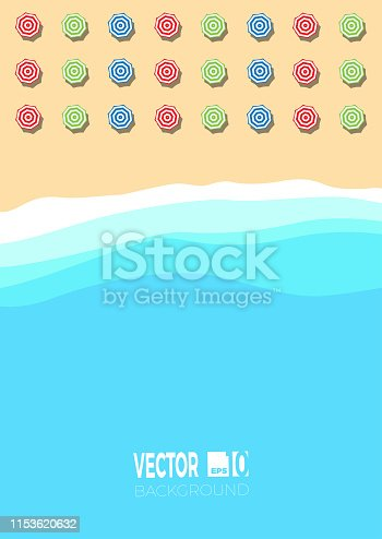 Summer concept, vector background for poster. Beach and sea with umbrella,  flat view