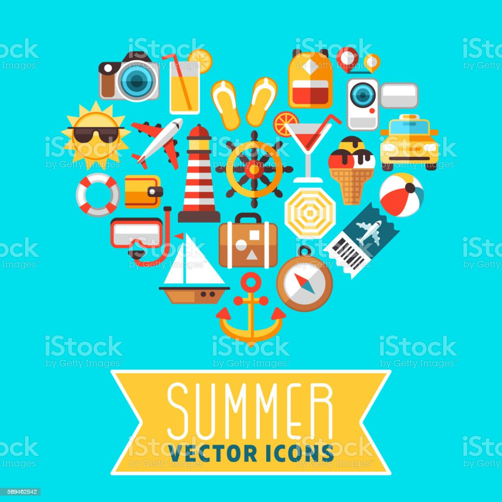 Summer concept with flat beach vector icons in heart form – Vektorgrafik