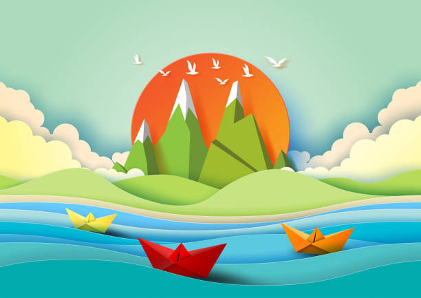 Summer concept with island, beach and sailboats paper art style. vector art illustration
