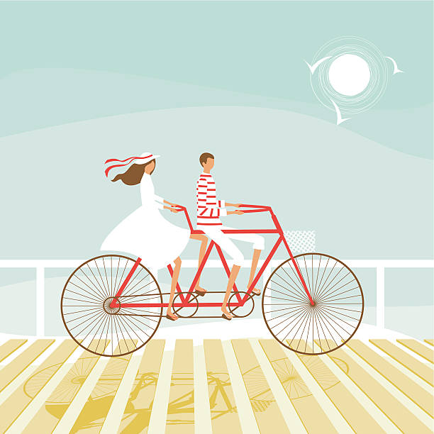 Summer couple cycling on the beach vector art illustration