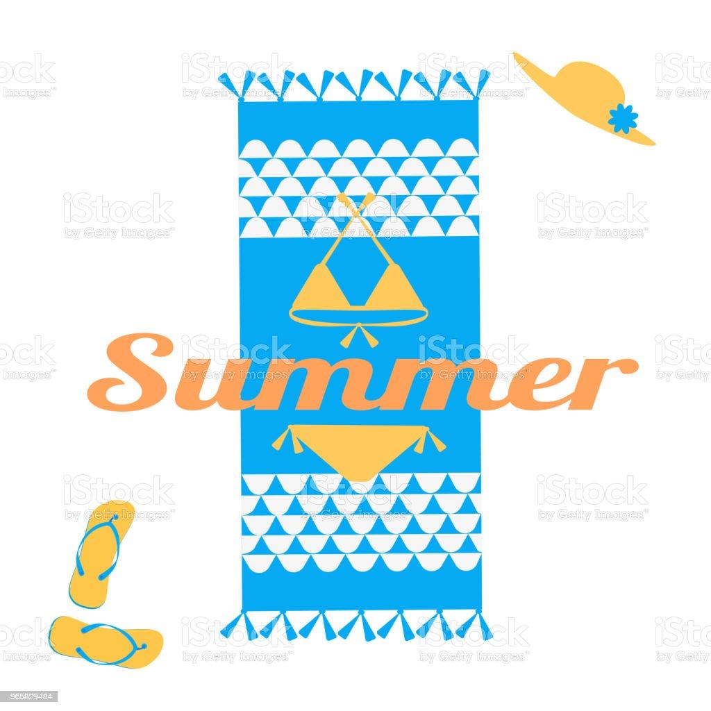 86dded0a9 Ilustración de Plantilla De Diseño Creativo De Verano Playa Toalla ...