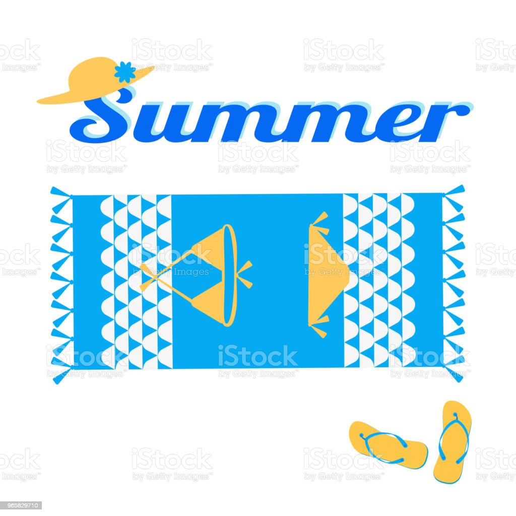 Summer creative design template. Beach, towel, swimsuit, slippers, hat. Vector illustration isolated on white background. - Royalty-free Abstract stock vector