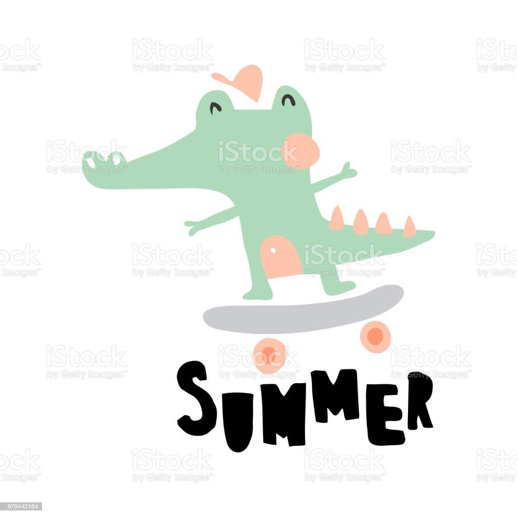 summer crocodile vector art illustration