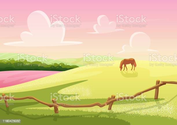 Summer cute sunny cartoon rural glade hills view with grazed horse on vector id1160425032?b=1&k=6&m=1160425032&s=612x612&h=bihnjbpnu6v790d4wrxipgix8lwoipw41cagls8ecce=