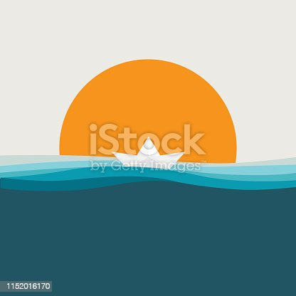 summer day background with beach, palm, sunset, sunrise, paper boat and minimal design concept