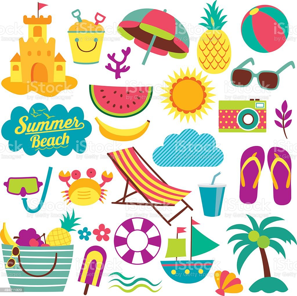 summer day elements clip art set vector art illustration