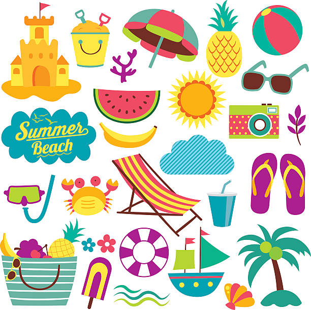 summer day elements clip art set vector art illustration
