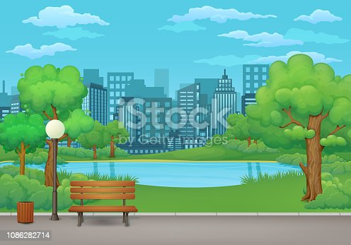 Summer, spring day park vector illustration. Wooden bench, trash bin and street lamp on an asphalt park trail with lush green trees, bushes, lake and cityscape with skyscrapers in the background.