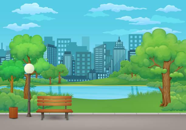 bildbanksillustrationer, clip art samt tecknat material och ikoner med sommardag i parken. träbänk, papperskorgen och gatlykta på en asfalt park trail med grönskande träd och buskar. grön äng, sjön eller floden, staden och blå himmel med moln i bakgrunden. - naturparksområde