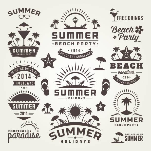 夏のデザイン要素、タイポグラフィー設計 ベクターアートイラスト