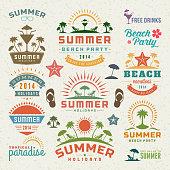 Summer design elements and typography design