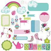 Summer Design Elements for scrapbook, card, invitation