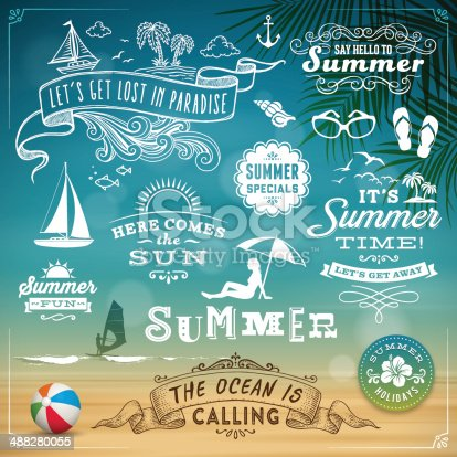 Summer signs,badges,banners and design elements.Eps 10 file with transparencies.File is layered with global colors.Only gradients used.More works like this linked below.http://www.myimagelinks.com/Lightboxes/summer_2_files/shapeimage_2.png