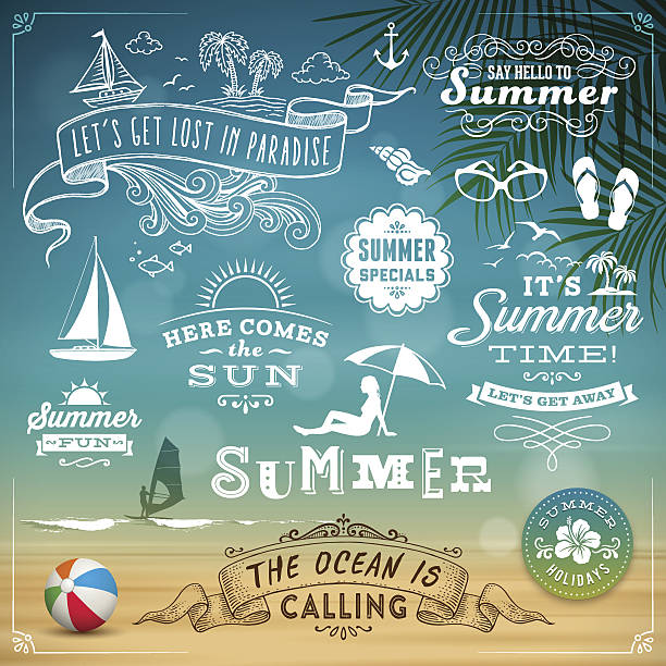 lato elementy projektu - summer background stock illustrations