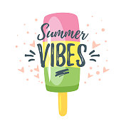 Vector cartoon style summer design for season postcard or poster background with ice-cream. White background.