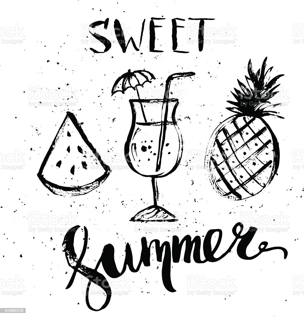 Uncategorized Drawings Of Summer summer design with ink drawings of fruit and cocktail stock vector royalty free art