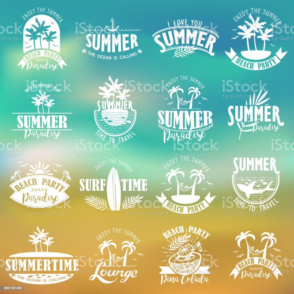 Summer Designs on Tropical Beach Background royalty-free summer designs on tropical beach background stock vector art & more images of abstract
