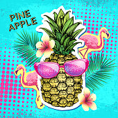 Summer disco party poster design with pineapple. Zine cutlure style