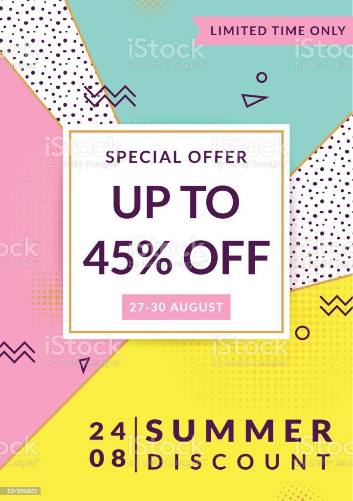 Summer discount. Vector flyer template. vector art illustration