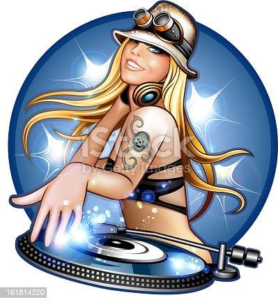 istock Summer DJ girl on decks 161814220