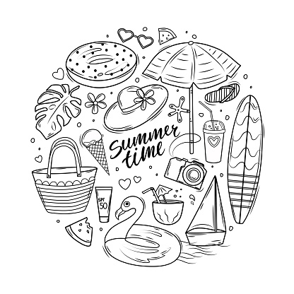 Summer doodle set with lettering, surfboard, sun umbrella, inflatable circle and beach bag. Coloring book. Vector illustration.