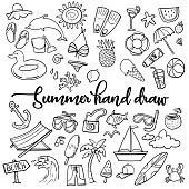 Summer beach hand drawn vector symbols and objects - Vector
