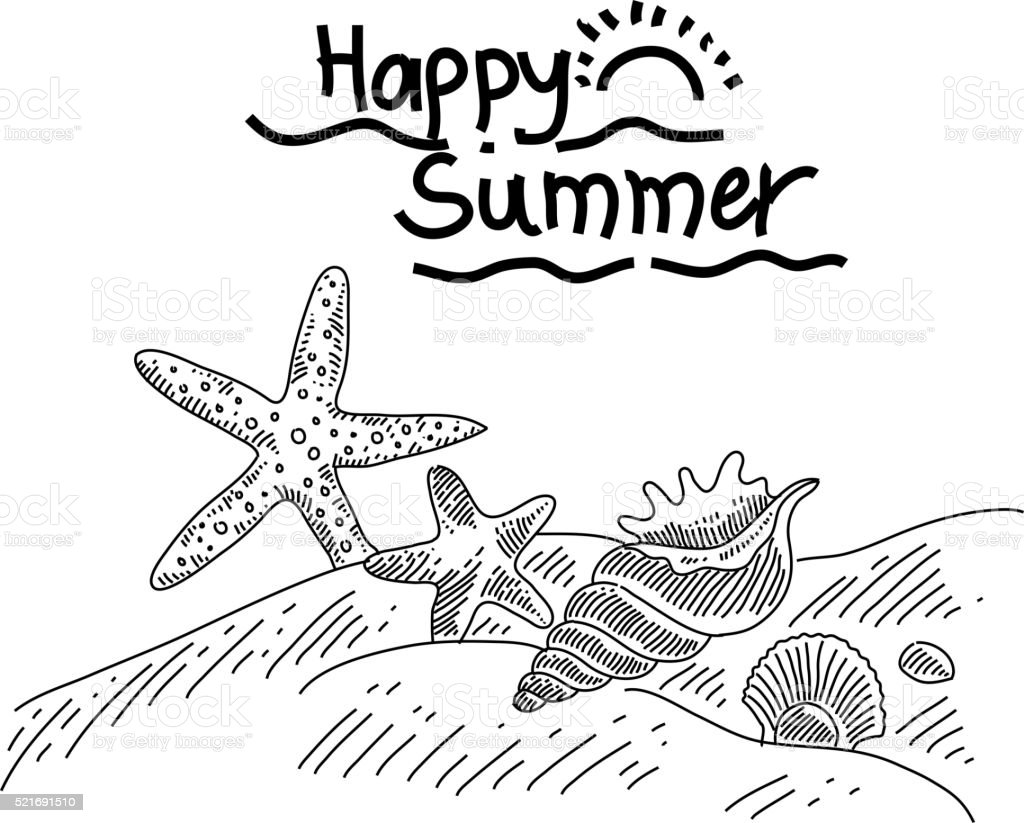 Summer Drawing Stock Vector Art More Images Of Animal Shell Rh Istockphoto Com Clipart Black And White Fun Clip