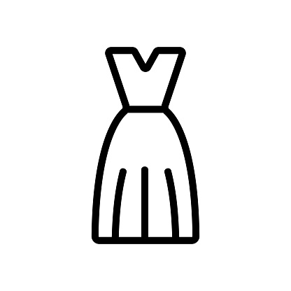Summer dress icon vector. Isolated contour symbol illustration