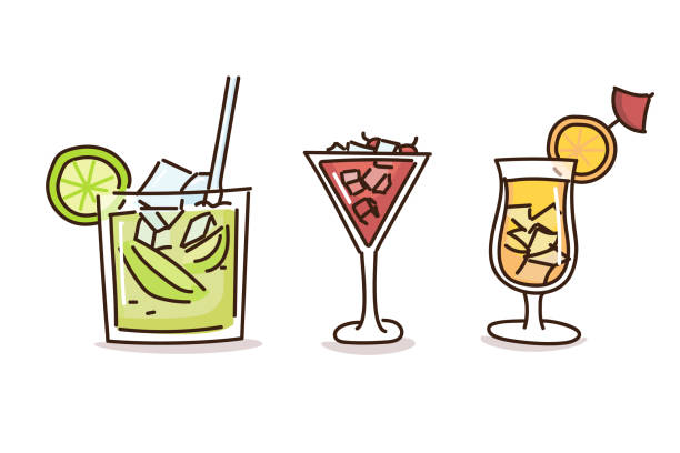 Summer drinks in trendy doodle hand drawn style. Vector illustrations with fresh cocktail drinks vector eps10 margarita stock illustrations