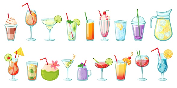 Summer drinks. Non alcoholic tropical cocktails, lemonades, smoothies, fresh juices, water with ice. Cold beverages for summer party vector set