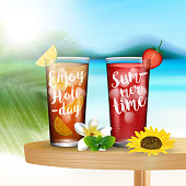 Summer drinks on the table on blurred beach background
