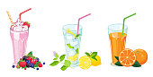 summer drinks set. Milk shake, fresh juice and mojito in glass isolated on white background. Vector illustration in cartoon flat style.