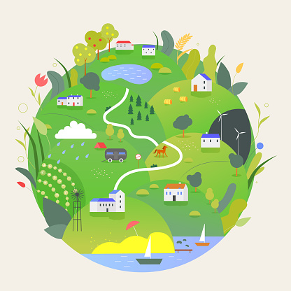 Summer Earth planet vector illustration, cartoon flat green globe with summertine rural countryside eco farmland landscape, Earth Day isolated on white