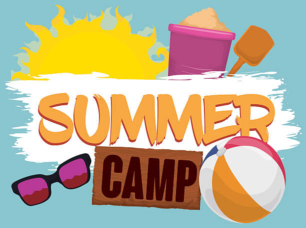 Summer Elements for Fun in the Beach Camp vector art illustration