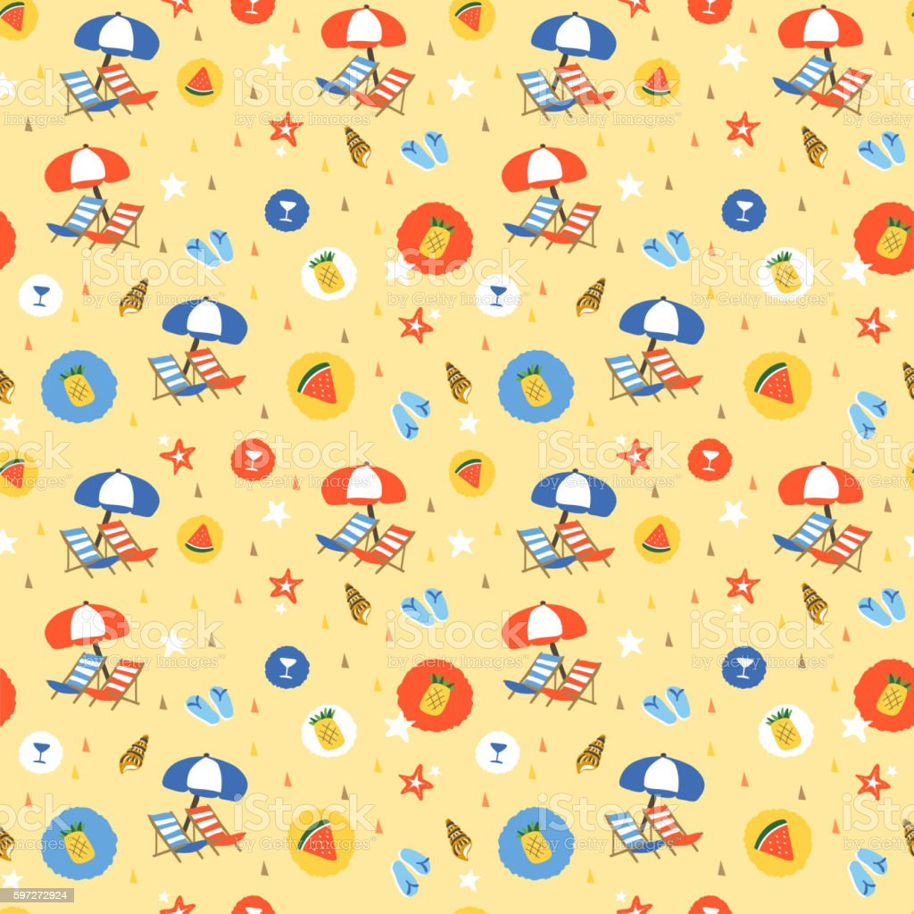 Sommer Elemente nahtlose Muster Lizenzfreies sommer elemente nahtlose muster stock vektor art und mehr bilder von abstrakt