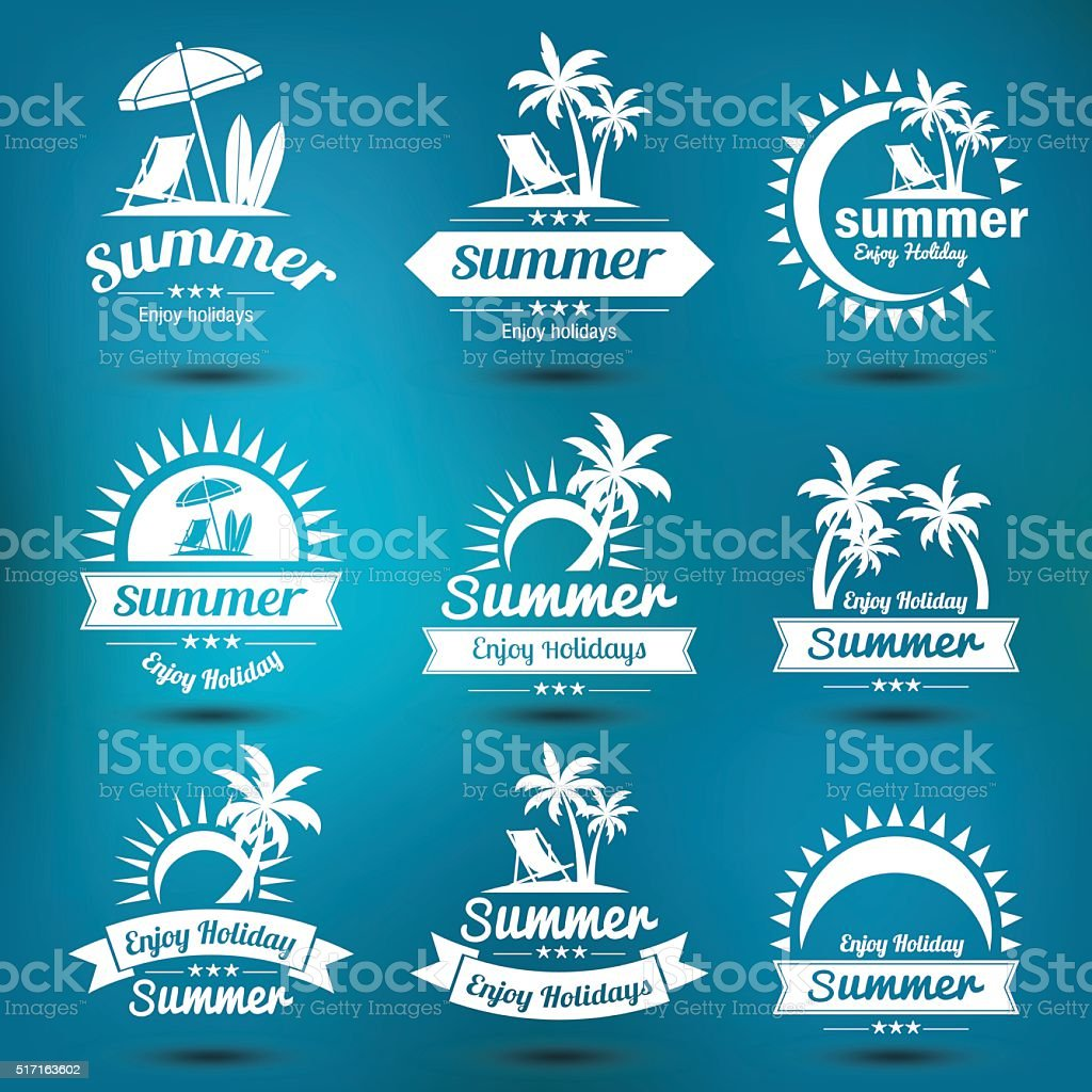 Summer emblem vector art illustration