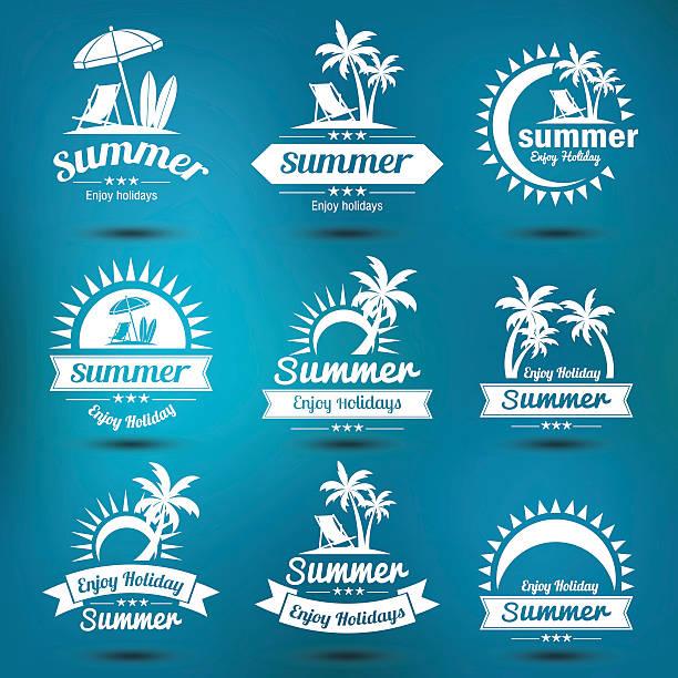 sommer-emblem - sonnenstuhl stock-grafiken, -clipart, -cartoons und -symbole