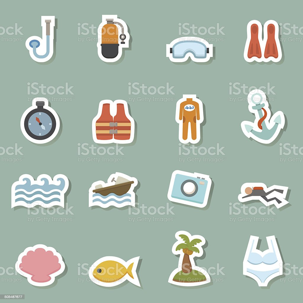summer equipment color icons royalty-free summer equipment color icons stock vector art & more images of beach