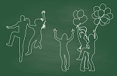 Chalkboard drawing with young adults jumping of joy holding balloons