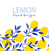 Summer exotic and tropic background design. Composition with lemons and leaves. Vector universal card with place for text.