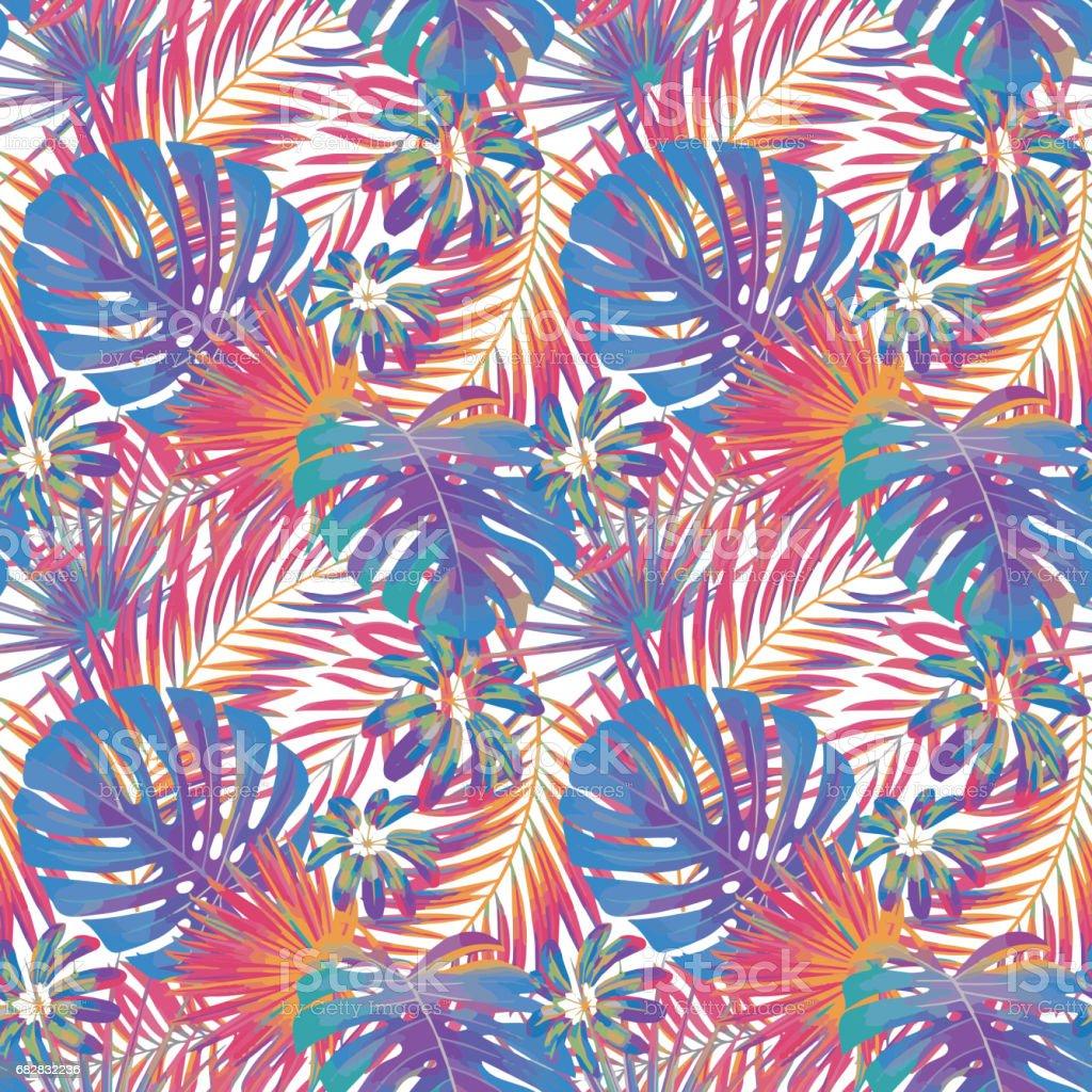 夏エキゾチックな花熱帯のヤシ紫と赤の色のモンステラを残しますベクターのシームレスなパターン植物の自然の壁紙 アウトドアのベクターアート素材や画像を多数ご用意 Istock
