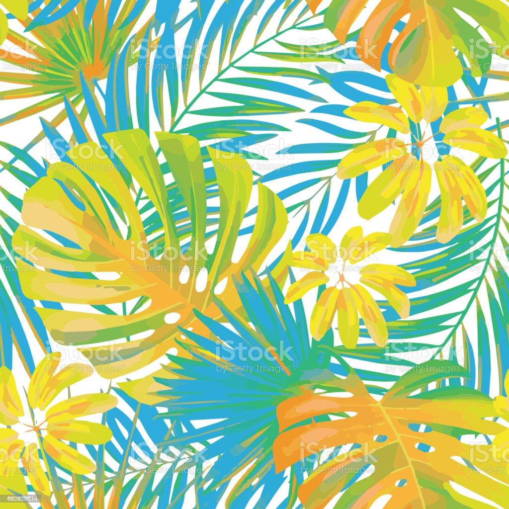 夏エキゾチックな花熱帯のヤシ黄色と青の色のモンステラを残しますベクターのシームレスなパターン植物の自然の壁紙 アウトドアのベクターアート素材や画像を多数ご用意 Istock