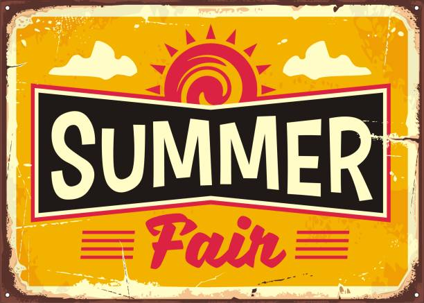 summer fair retro tin sign concept - tradycyjny festiwal stock illustrations