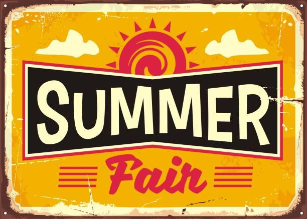 bildbanksillustrationer, clip art samt tecknat material och ikoner med sommaren rättvis retro tin sign koncept - traditionell festival