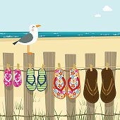 istock Summer family, flip flops beach sea sand illustration vector 165729695