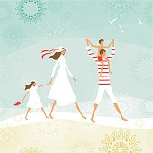 Summer-vintage scene with family on the beach.