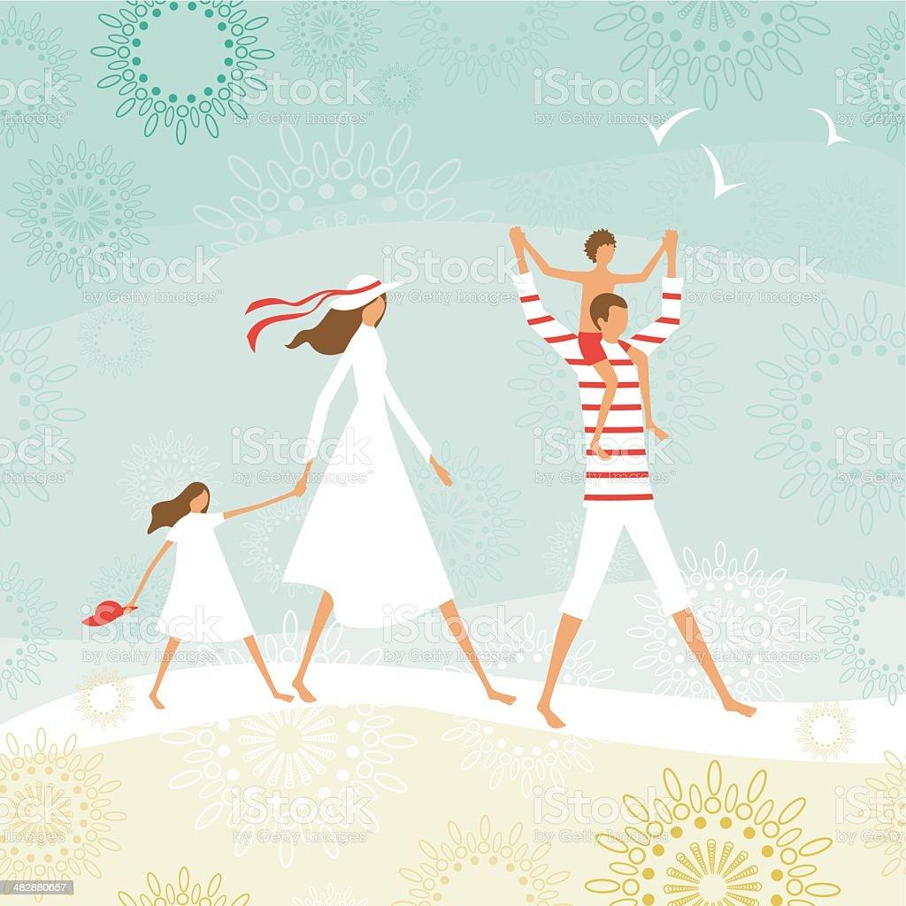 Verano la familia en la playa - ilustración de arte vectorial