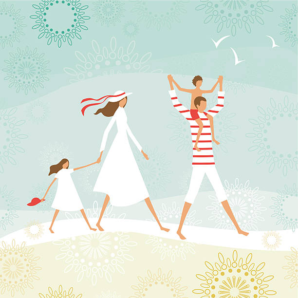 Summer family on the beach vector art illustration